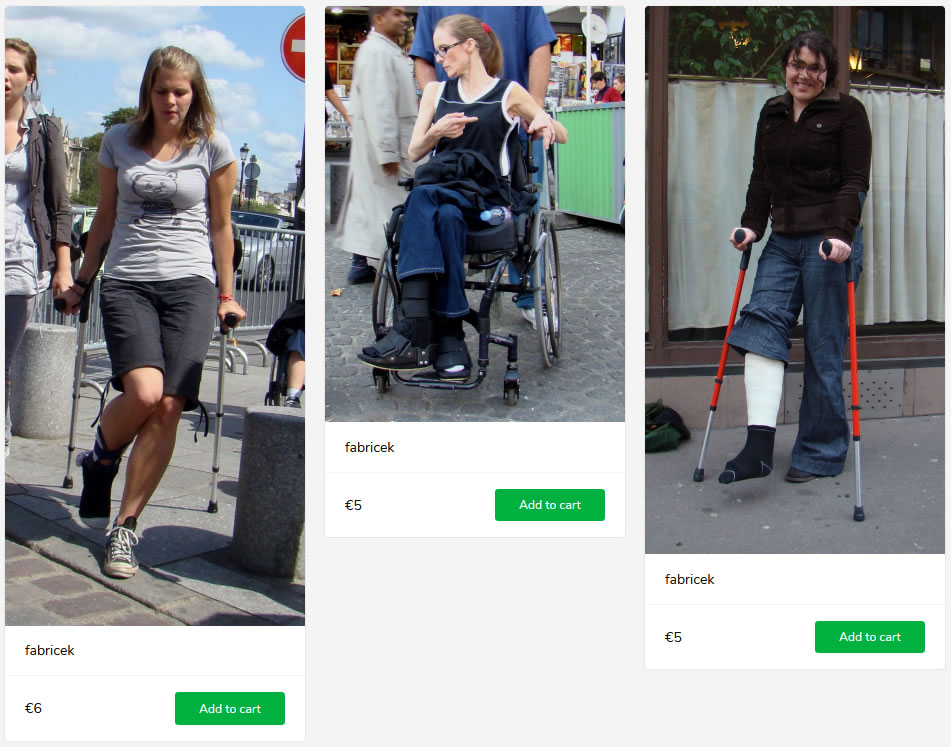 3 new sets (woman with both feet in boots in wheelchair, 2 girls on cruches - one with bandage one in a cast)