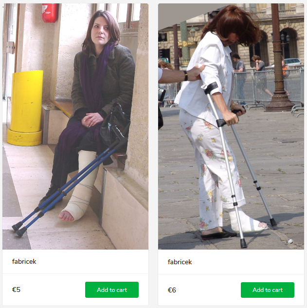 2 new sets (woman with cast on crutches)