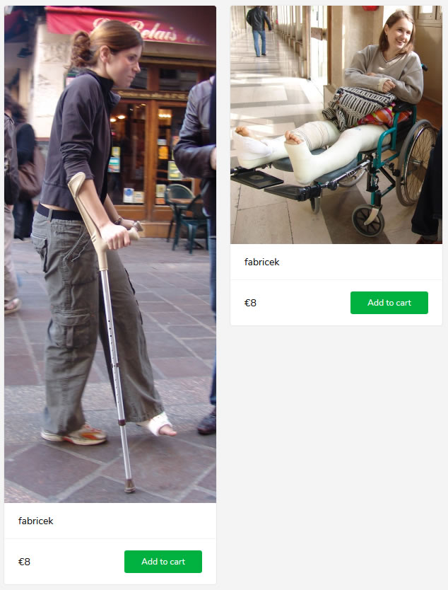 2 new sets - girl on crutches in legcast with twisted ankle + girl with both legs broken in LLC's in wheelchair