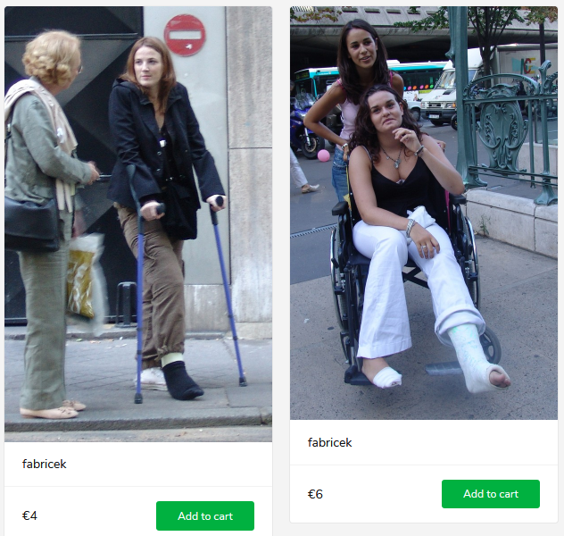 2 new sets (woman with broken legs on crutches and in wheelchair)