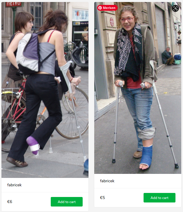 2 new sets (woman with blue and purple SLC's on crutches)