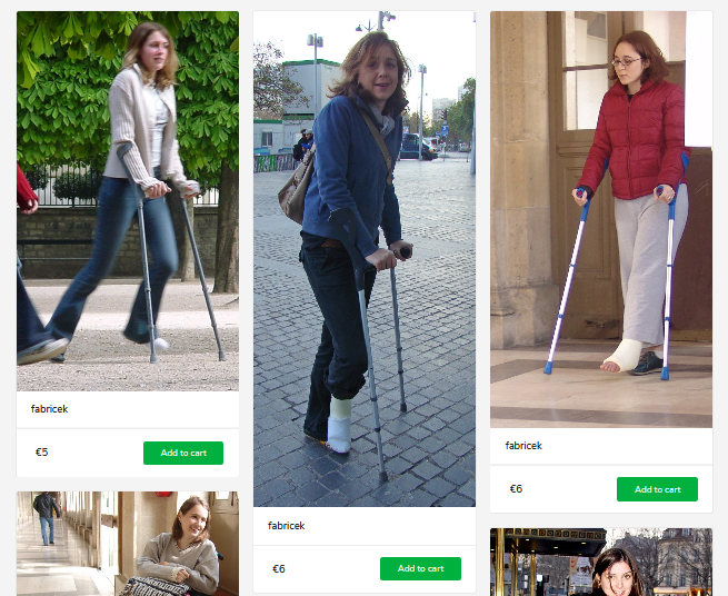 New Videos and pictures of women in casts with crutches.
