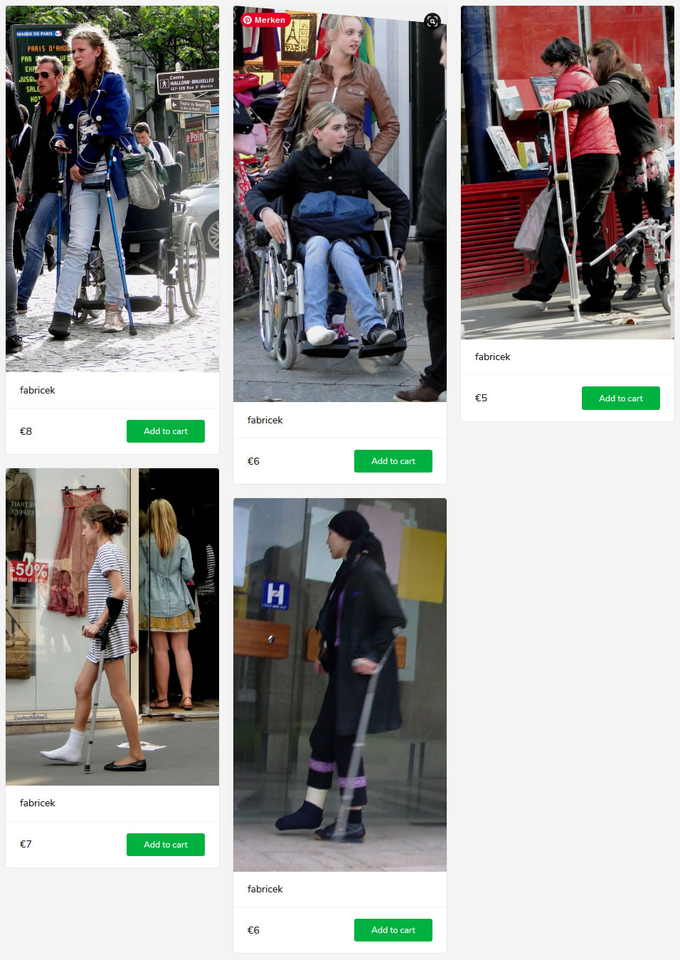 5 new sets (different girls struggling with plastered feet on crutches and in wheelchair)