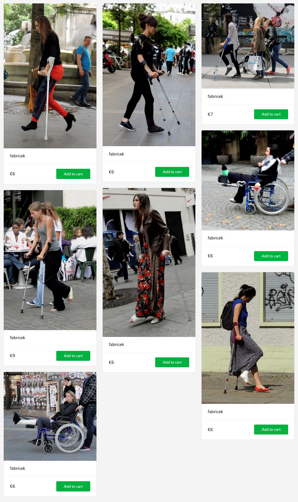8 new sets of women and gals with plastered legs - on crutches, in wheelchair. some with socks over their casts...