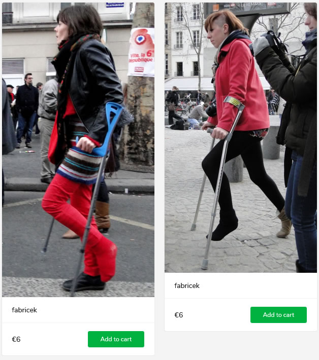 2 new sets: women with plastered or bandaged legs on crutches