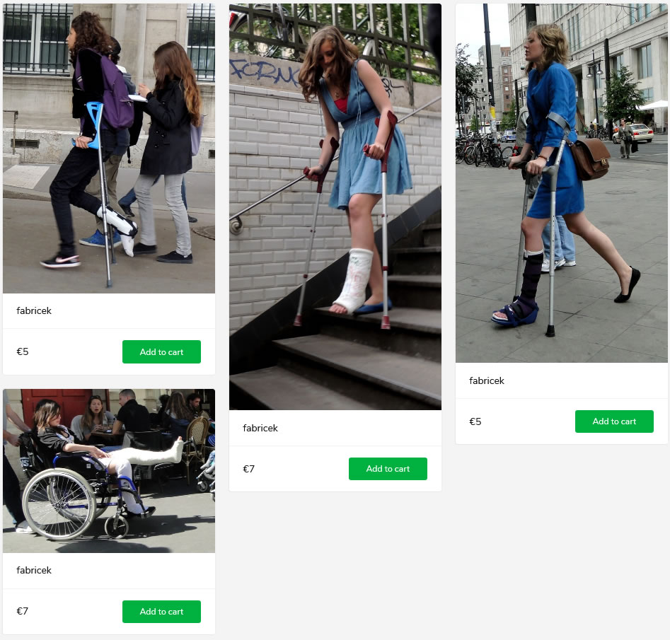 4 new sets of injured french girls: one with braced foot and crutches, two with casted lower legs on crutches and one with her entire leg in a big plastercast in a wheelchair