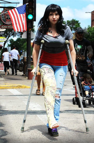 White LLC and crutches - American Girl ... Happy Independence day to all - let's not take our freedoms for granted!
