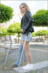 Nastya - blue fiber long leg cast LLC (56 images in set)