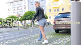 Nastya - blue fiber long leg cast LLC (HD Video)
