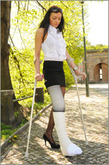 Gizela - white LLC with crutches and sock (55 images in set)
