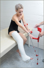 Niki - white plaster LLWC with crutches and sock (45 images in set)