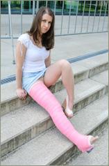 Ivonne pink long leg walking cast (55 images in set)