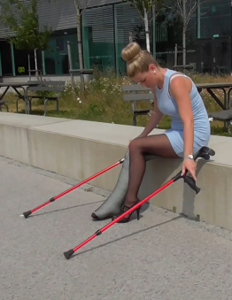 2 clips - Ice SLC & Ice LLC - Ice is out crutching with a nice dress a high heel on her left foot and a huge Long leg cast on her right leg. Over her cast she has a black thin pantyhose. Great crutching and close up in this custom clip.