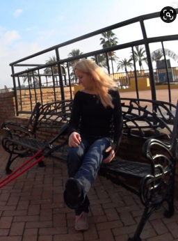 Alva CLC - Alva is crutching out at them wet street in Spain with left leg in a CLC covered under them tight jeans. Alva crutches across the street but she arrives not long before dark clouds appear in the sky. Before the rain comes again, Alva...