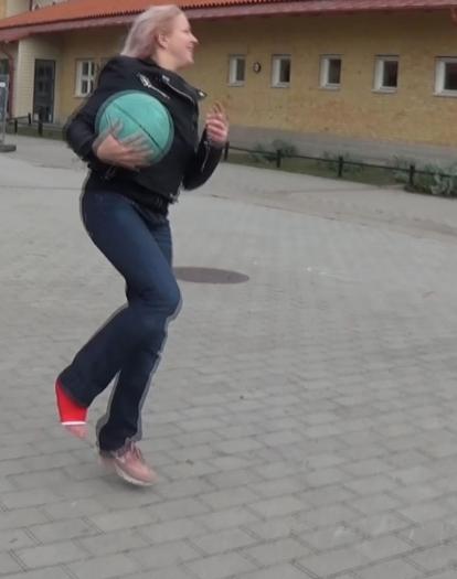 Alva red short leg cast - hopping around on one leg catching a ball (Video: 7 min - $5)