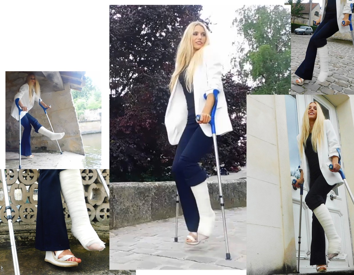 Castlinda SLC - Jolie Modling - Linda exploring the area on crutches, her left leg is immobilized in a white, plaster legcast covered by nylons...