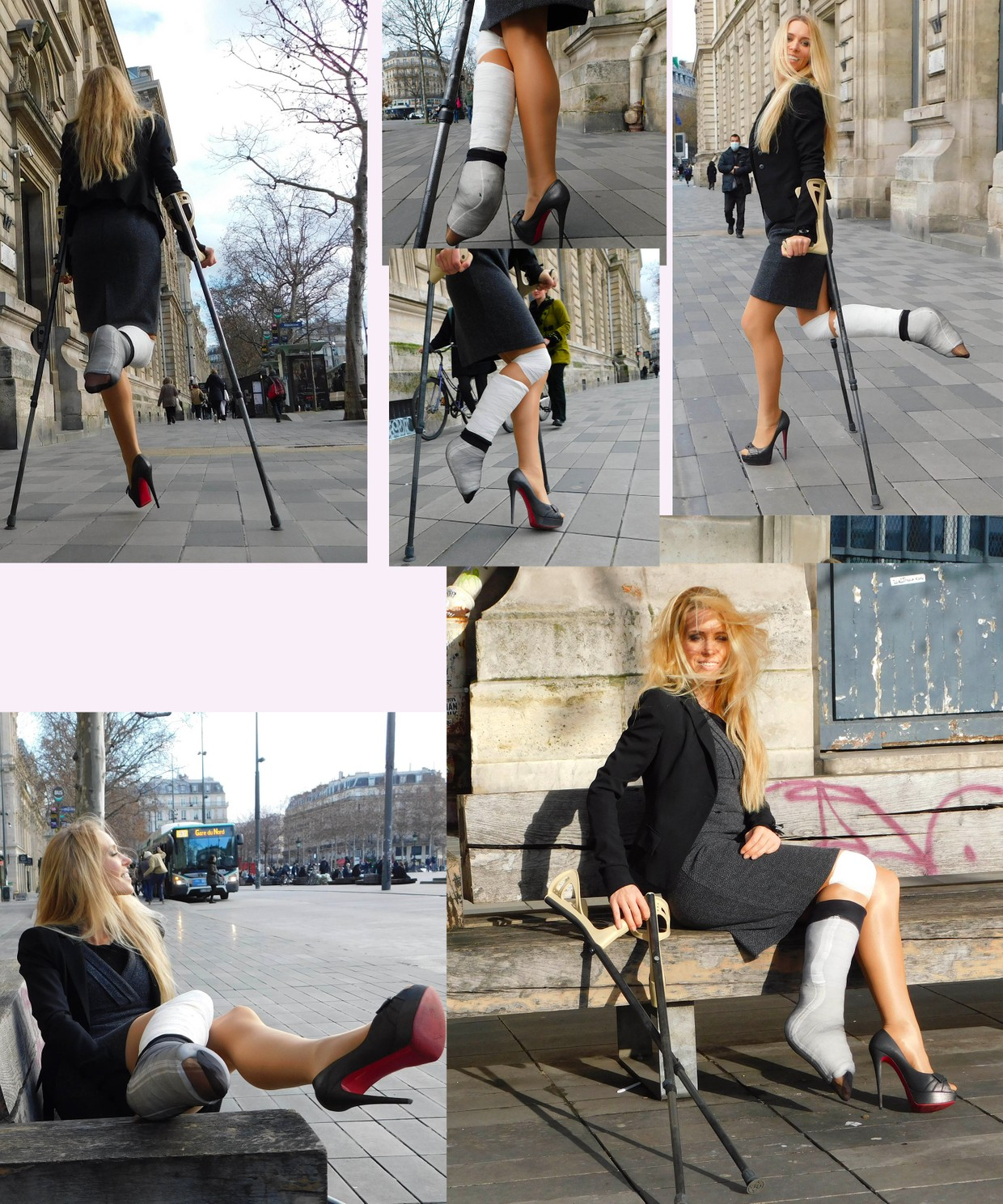 Castlinda, Jolie Modling - her right leg is fixed in a pointed position in a white plaster cast, on her left foot a high heeled pump - on the go with crutches