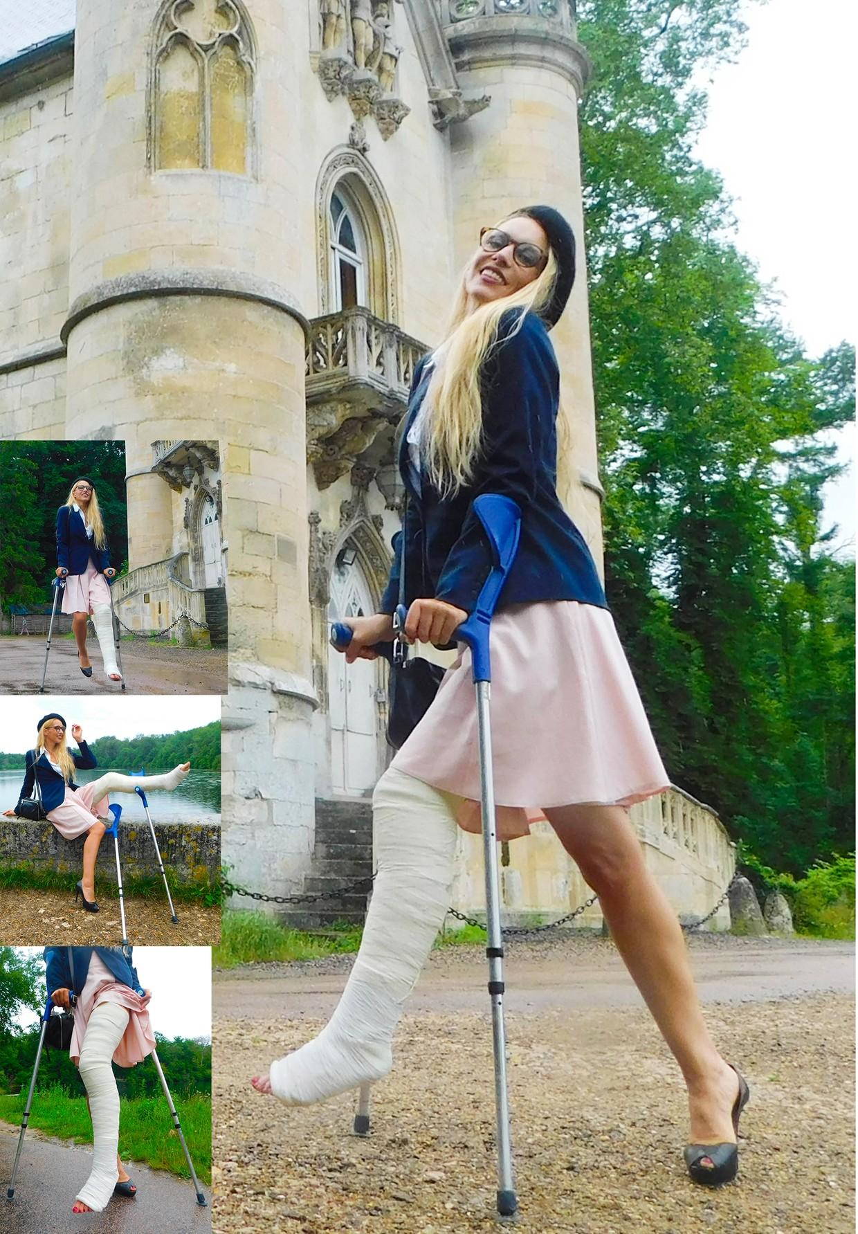 Castlinda LLC - Jolie Modling - Linda crutching around - with a plaster LLC on her left leg.