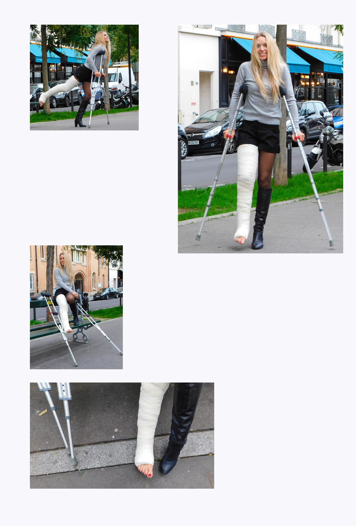 Linda with LLC and crutches