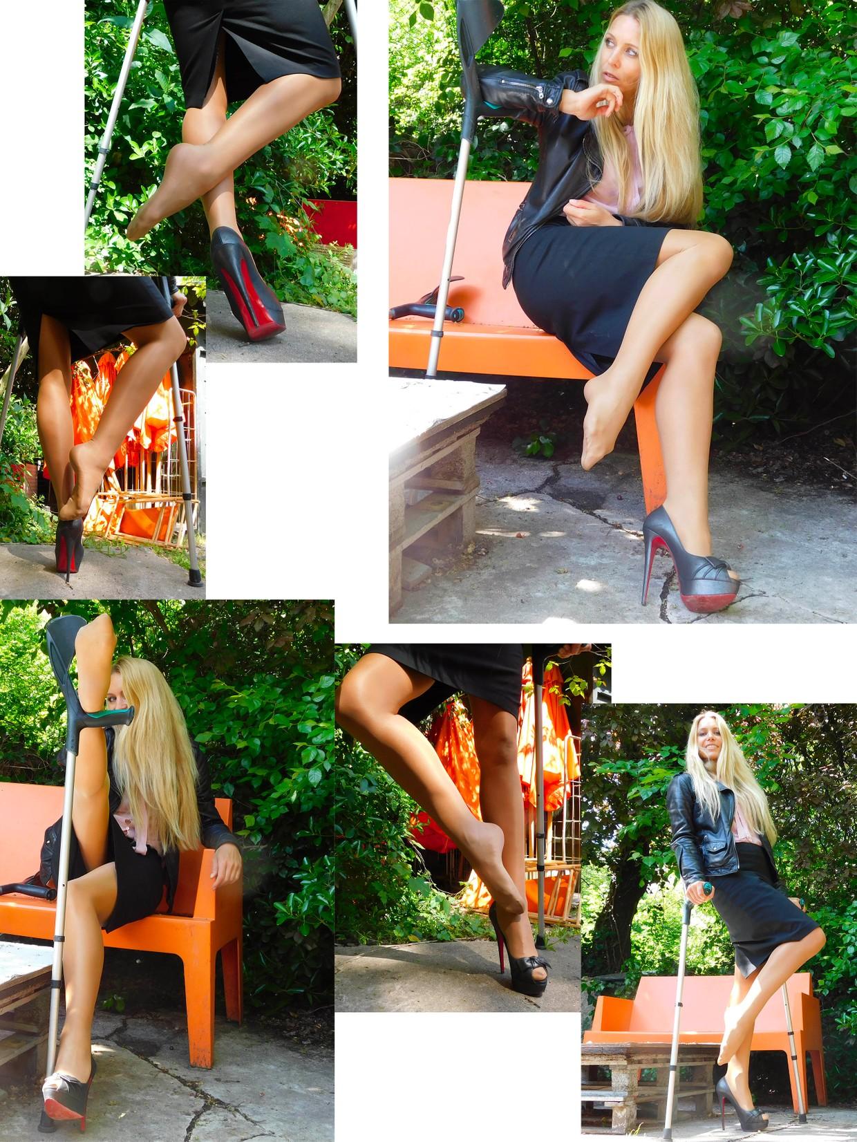 Crutches - Linda on crutches with high-heels.