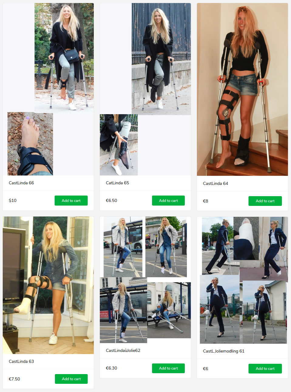 Jolie Modling in aircast and kneebrace - on underarm and forearm crutches... (4 new sets)