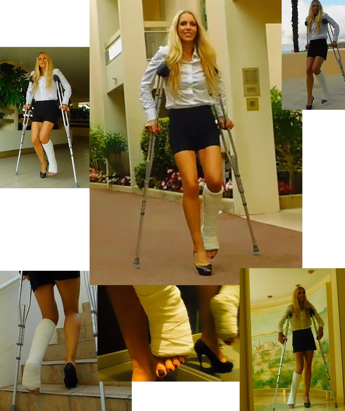Castlinda SLC - Jolie Modling - crutching to the swimming pool. Linda leaves house to go to the swimming pool, taking the lift and stairs with crutches, arriving at the pool.