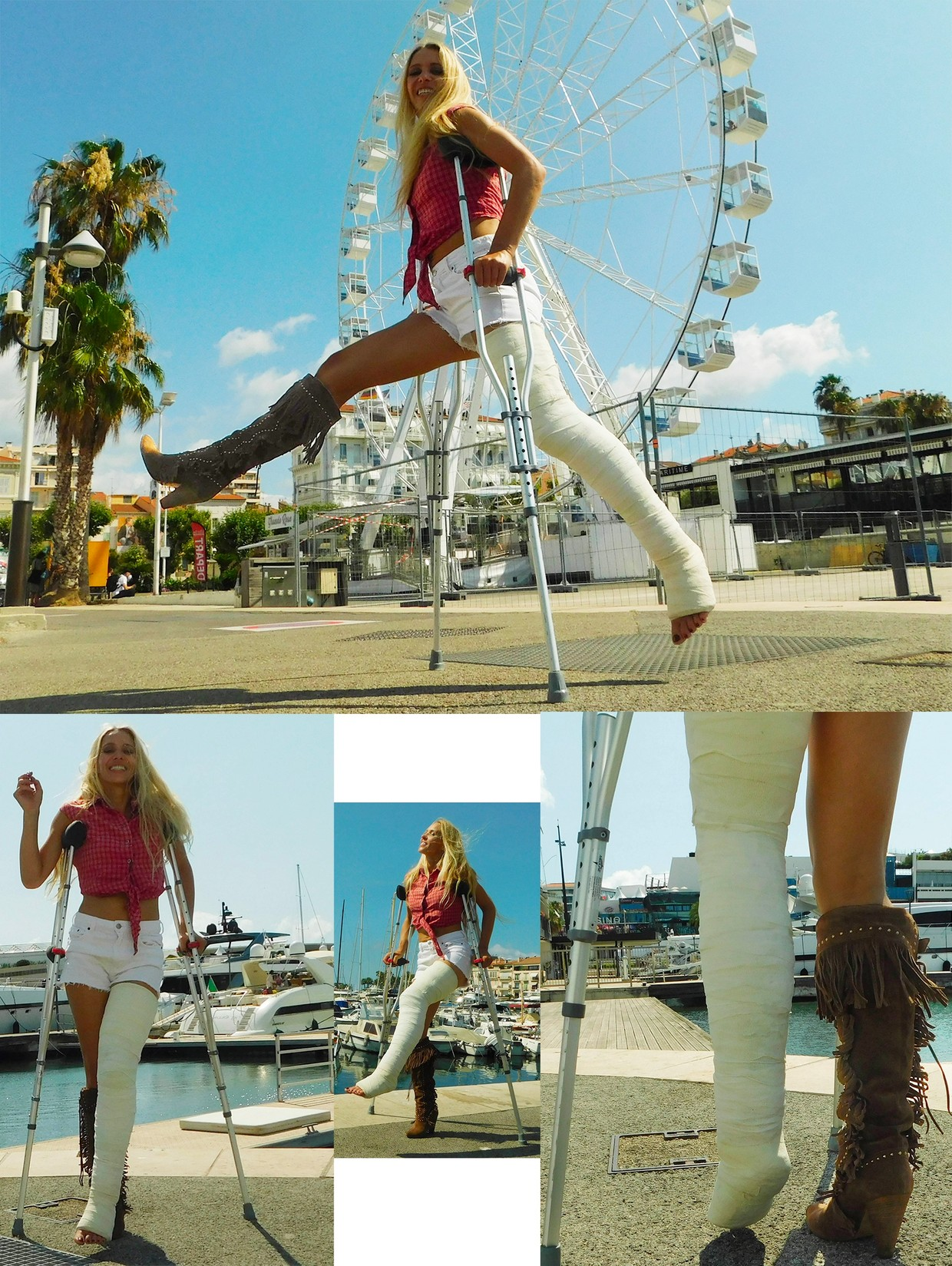 Castlinda LLC - Jolie Modling - Linda crutching in the city of Cannes - with a massive plaster longleg cast on her left leg and a cowboy boot on her right leg.