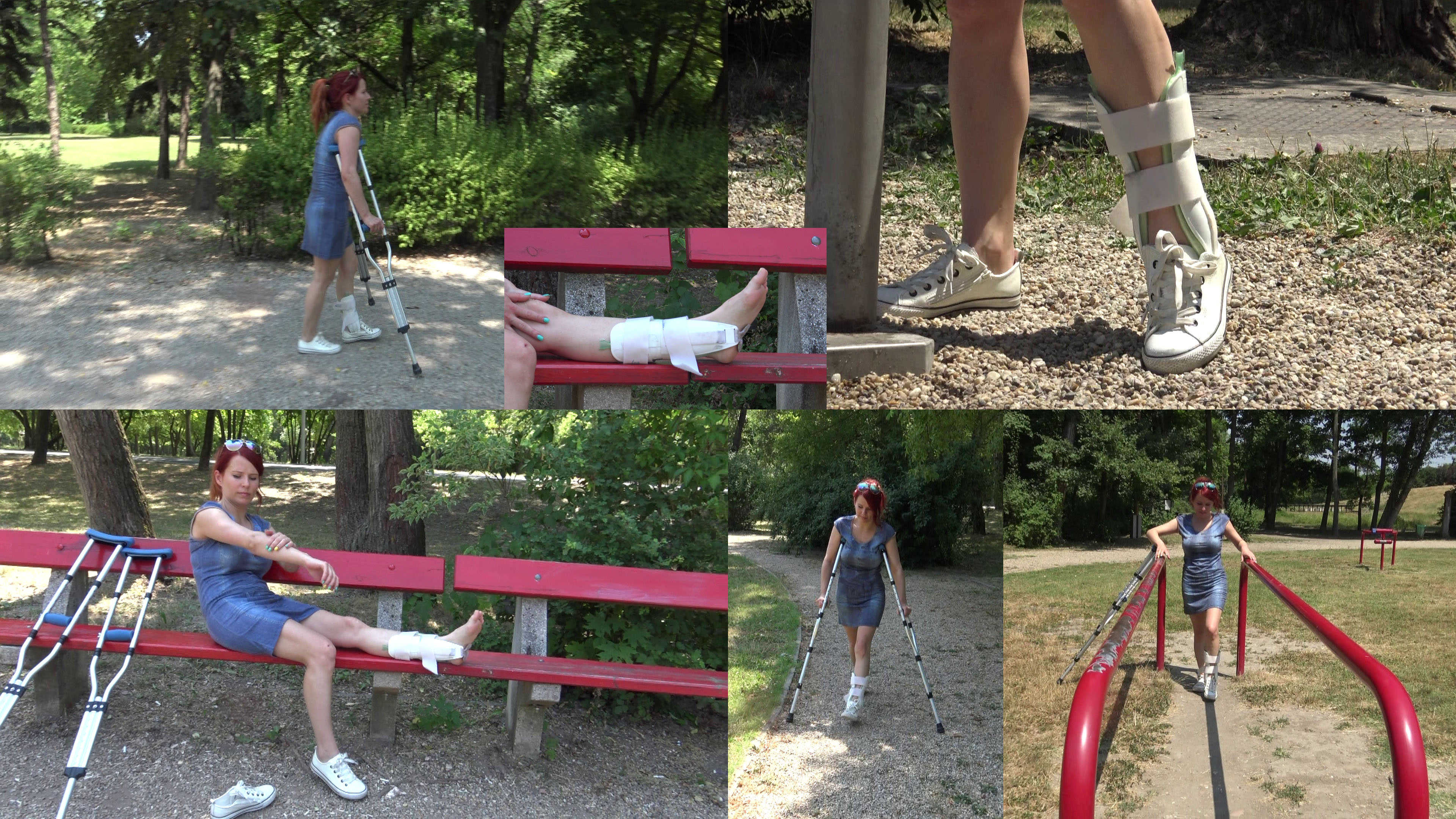 Norina ankle brace & crutches - Norina is a real sport girl, so wants to check her favorite outdoor gym on an island. Even if she has an aircast on her left ankle, she sprained it two weeks ago. We follow her on her journey.