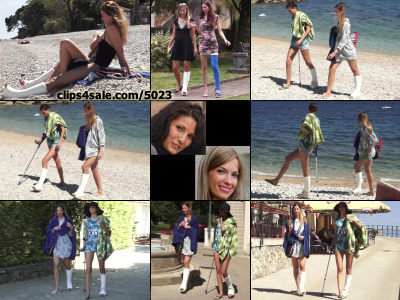 Beatrice SLWC and Emma SLC at the Beach - Benetta and Emma enjoy a day at the beach and don't let their casted conditions get in the way. After some tanning they get up (with Emma using a crutch cane)and make their way to town with a towel and...
