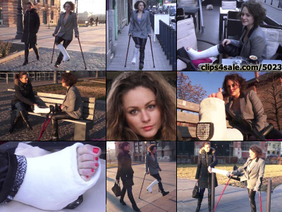 Zuzu Term SLWC - Zuzu crutches in public to an outside cafe in order to waste some time before meeting her friend. its cold out so she tries warming and cleaning off her exposed casted toes before meeting her friend. Knowing she moves slower...